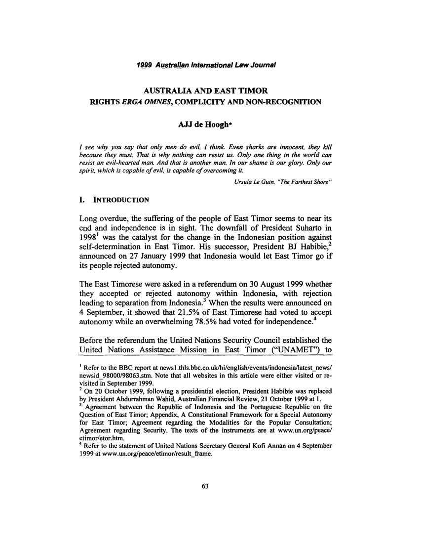 Australia and East Timor - Rights Erga Omnes, Complicity and