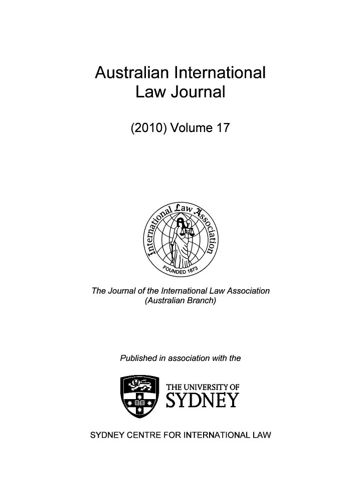 handle is hein.journals/austintlj2010 and id is 1 raw text is: Australian International
