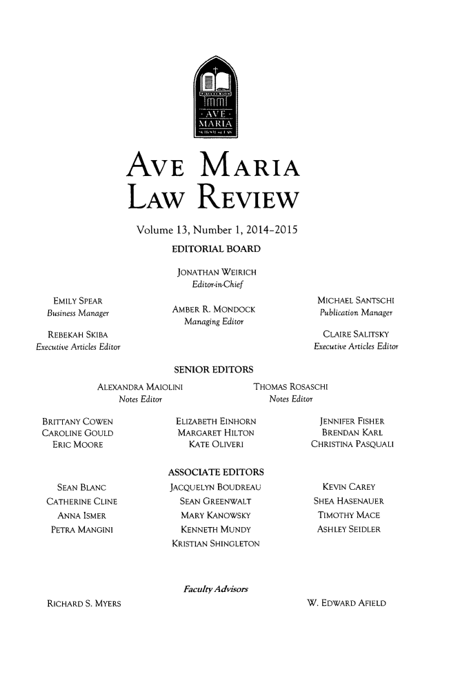 handle is hein.journals/avemar13 and id is 1 raw text is: 