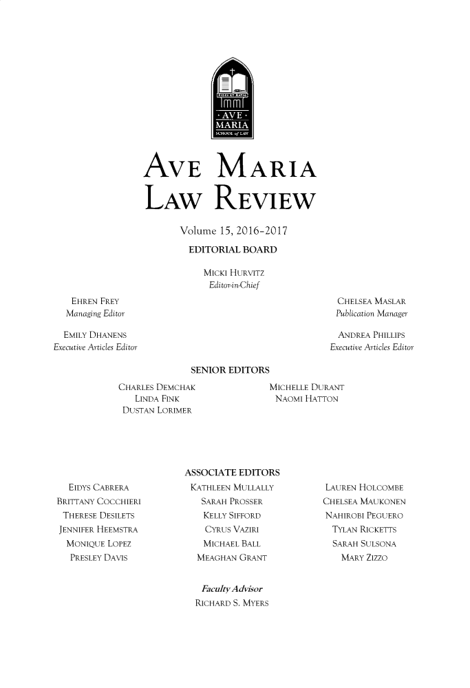 handle is hein.journals/avemar15 and id is 1 raw text is: 