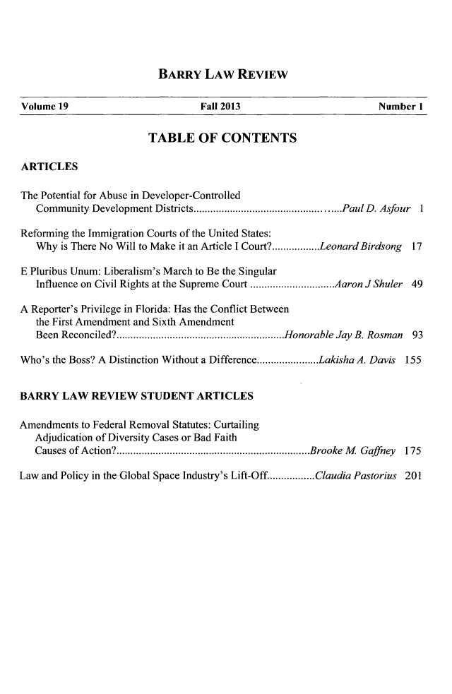 handle is hein.journals/barry19 and id is 1 raw text is: BARRY LAW REVIEW