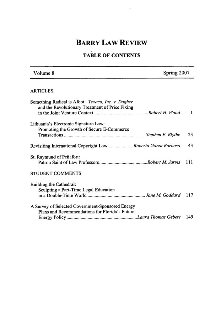 handle is hein.journals/barry8 and id is 1 raw text is: BARRY LAW REVIEW
