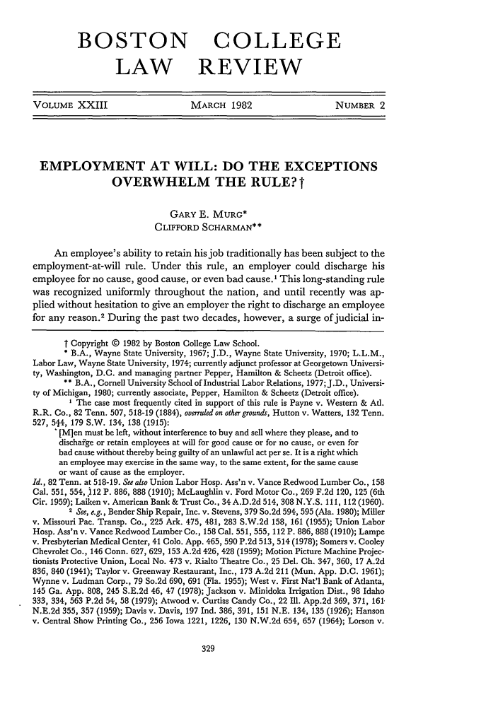 Stevens Ford 112 >> Employment at Will: Do the Exceptions Overwhelm the Rule 23 Boston College Law Review 1981-1982