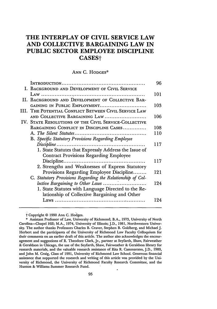 handle is hein.journals/bclr32 and id is 105 raw text is: THE INTERPLAY OF CIVIL SERVICE LAW