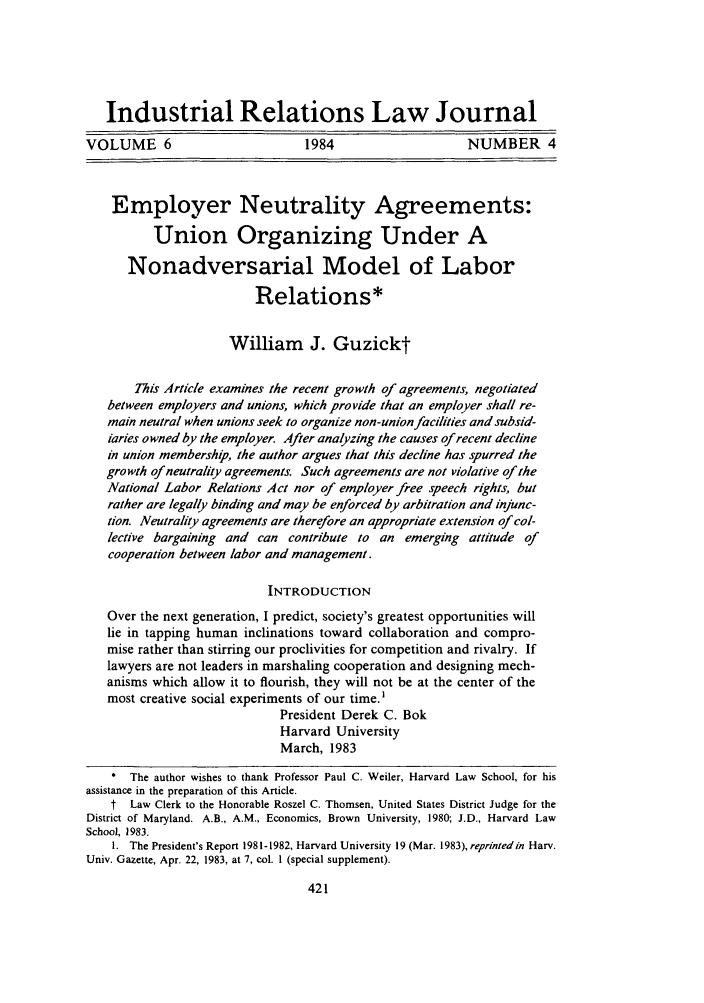 Employer Neutrality Agreements Union Organizing Under A