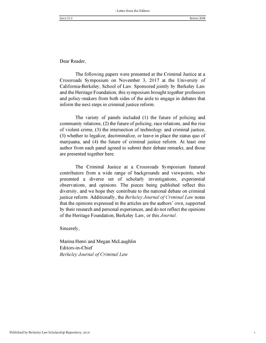 Berkeley Journal of Criminal Law
