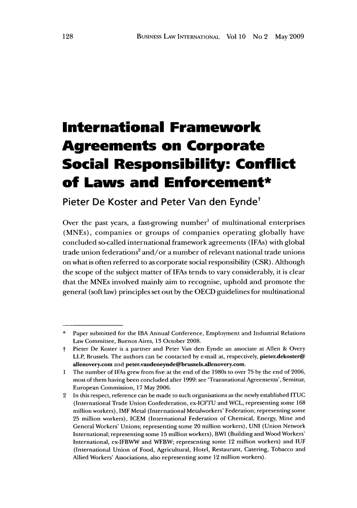 International Framework Agreements On Corporate Social