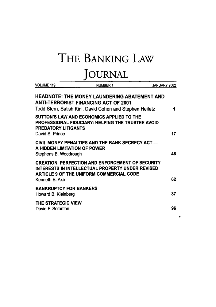 handle is hein.journals/blj119 and id is 1 raw text is: THE BANKING LAW
