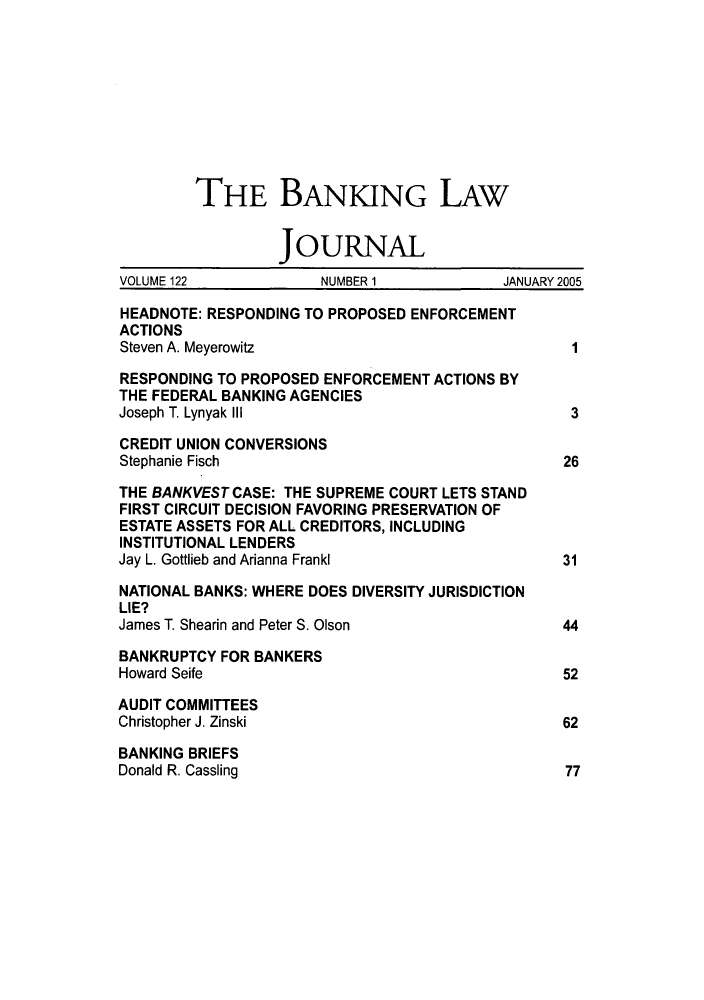 handle is hein.journals/blj122 and id is 1 raw text is: THE BANKING LAW