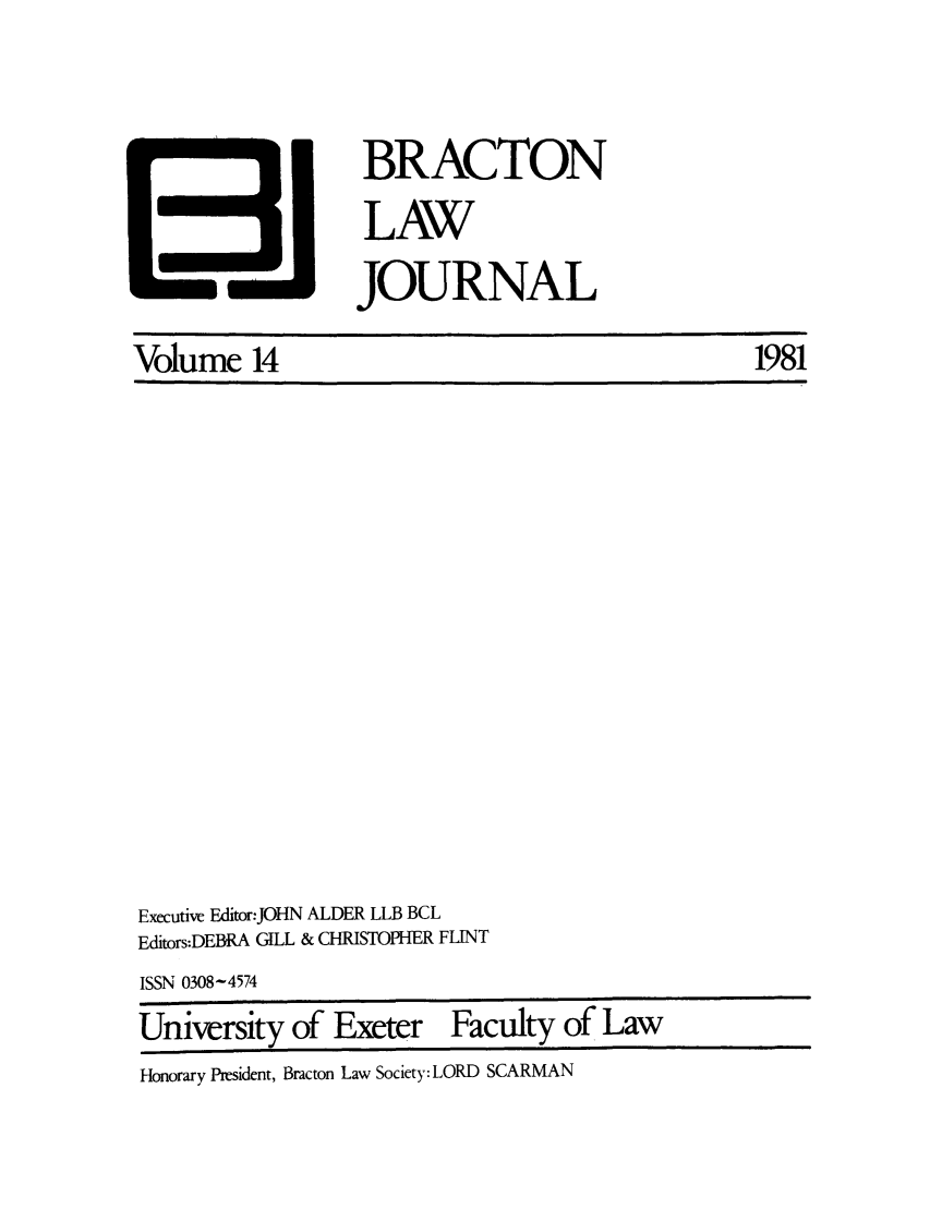 handle is hein.journals/braclj14 and id is 1 raw text is: Volume 14