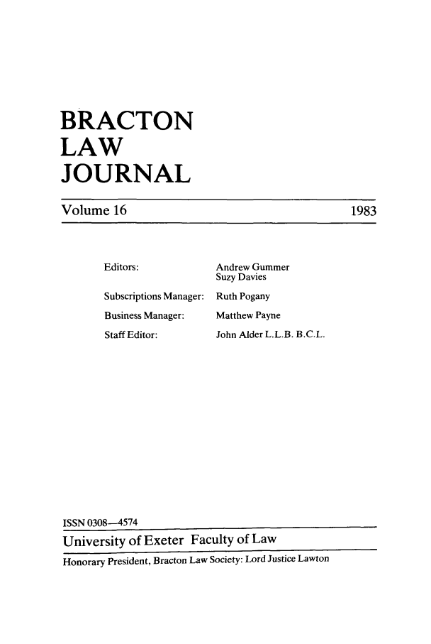 handle is hein.journals/braclj16 and id is 1 raw text is: BRACTON