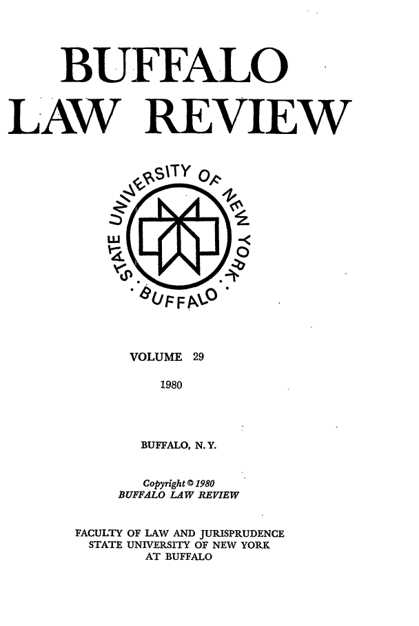 handle is hein.journals/buflr29 and id is 1 raw text is: BUFFALO