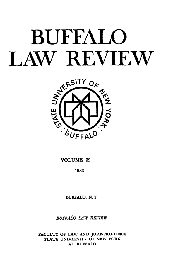 handle is hein.journals/buflr32 and id is 1 raw text is: BUFFALO