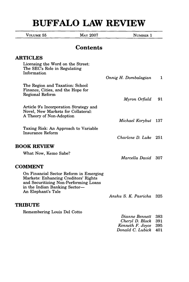 handle is hein.journals/buflr55 and id is 1 raw text is: BUFFALO LAW REVIEW