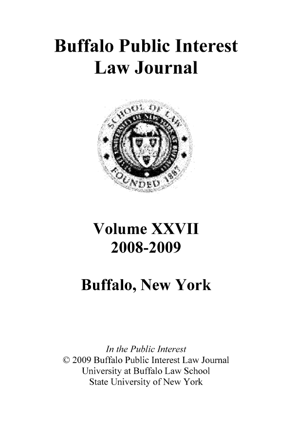 handle is hein.journals/bufpij27 and id is 1 raw text is: Buffalo Public Interest