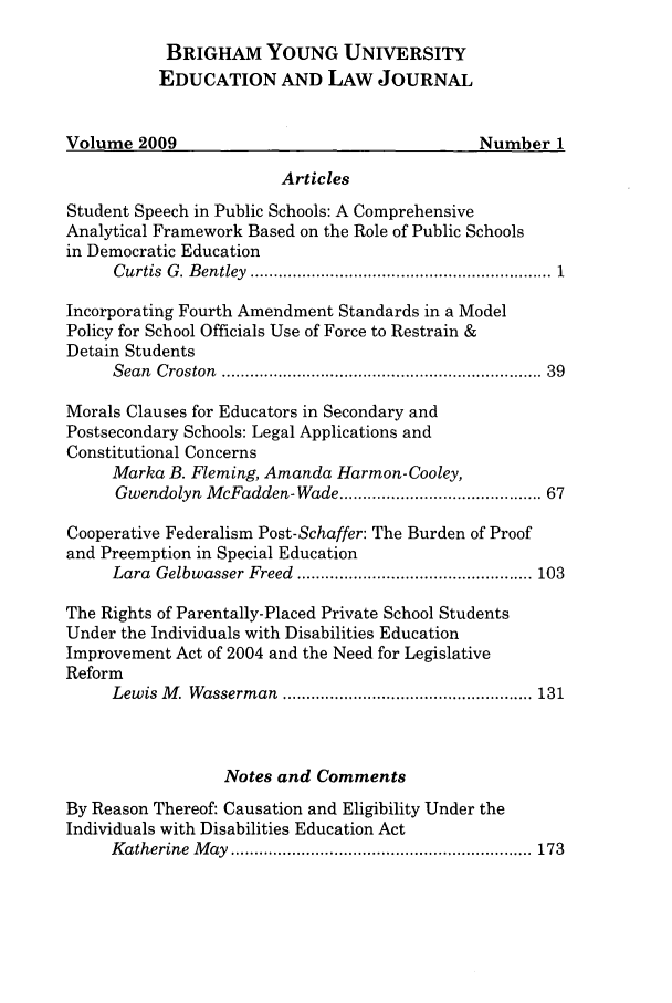 handle is hein.journals/byuelj2009 and id is 1 raw text is: BRIGHAM YOUNG UNIVERSITY