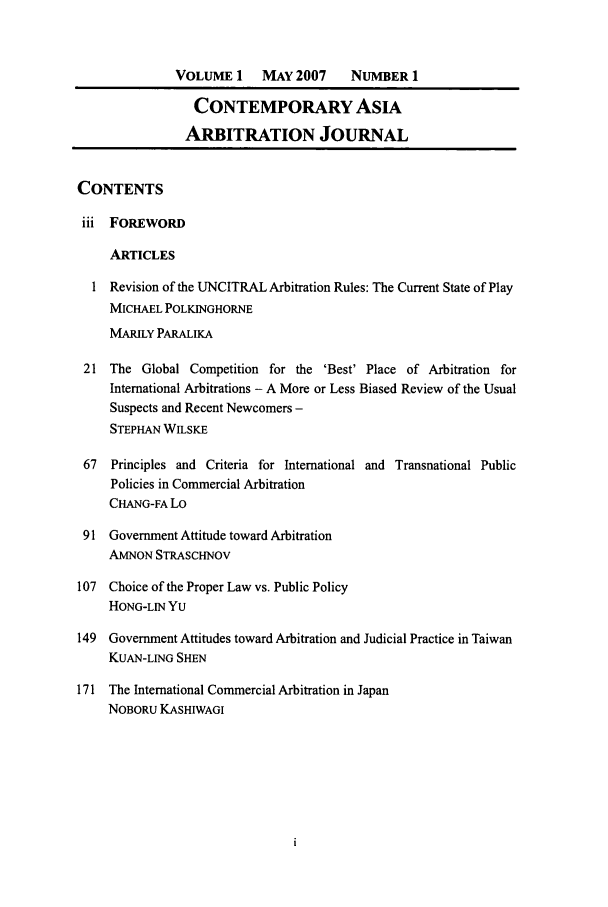handle is hein.journals/caaj1 and id is 1 raw text is: VOLUME 1     MAY 2007     NUMBER 1