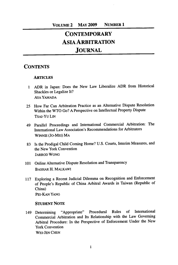 handle is hein.journals/caaj2 and id is 1 raw text is: VOLUME 2     MAY 2009      NUMBER 1