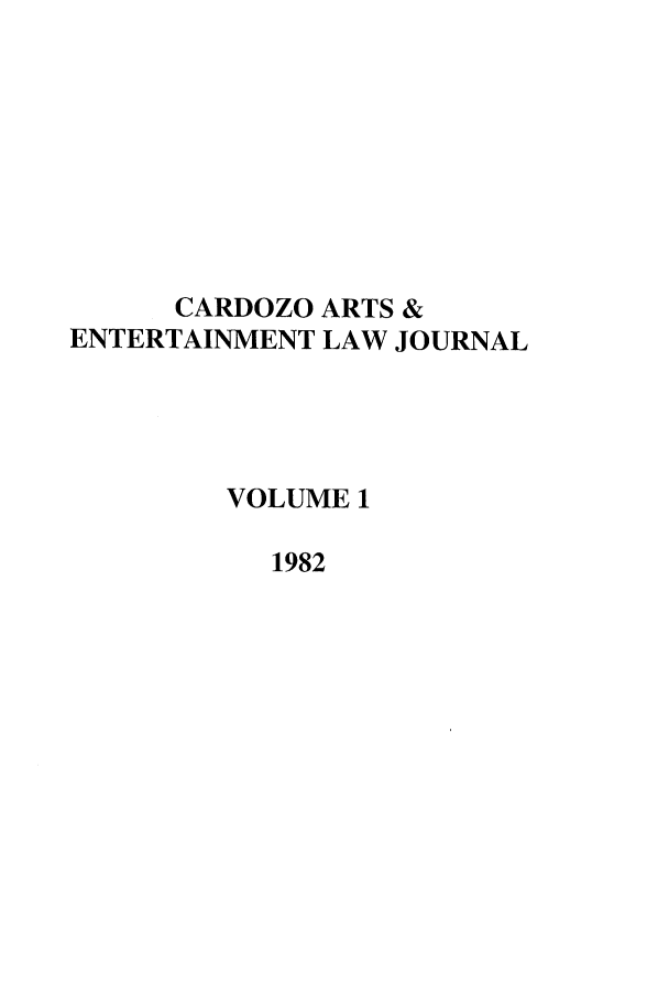 handle is hein.journals/caelj1 and id is 1 raw text is: CARDOZO ARTS &