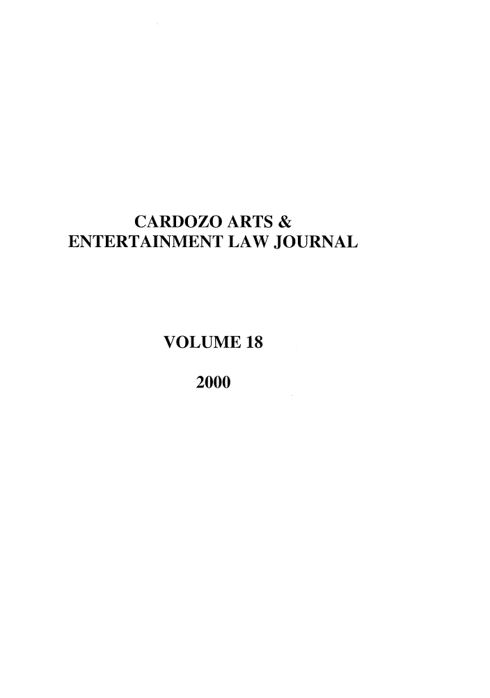 handle is hein.journals/caelj18 and id is 1 raw text is: CARDOZO ARTS &