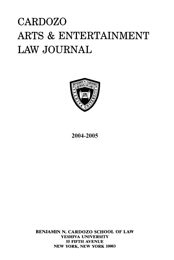 handle is hein.journals/caelj22 and id is 1 raw text is: CARDOZO