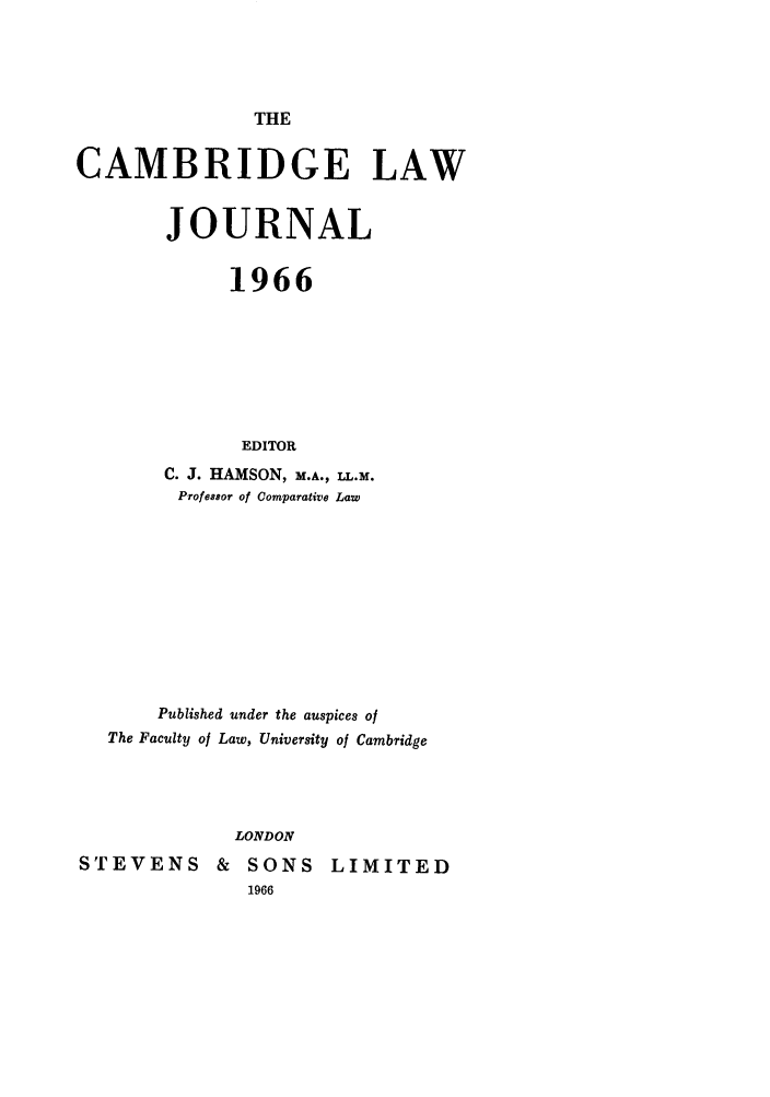handle is hein.journals/camblj1966 and id is 1 raw text is: THE