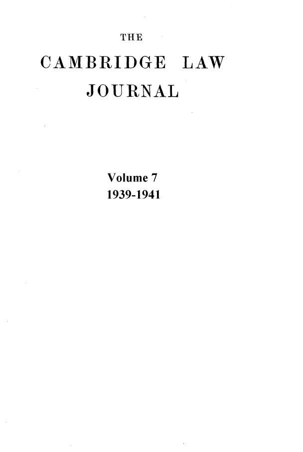 handle is hein.journals/camblj7 and id is 1 raw text is: THE