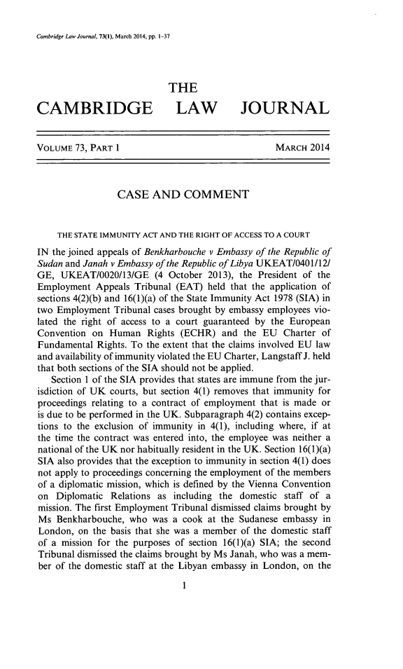 handle is hein.journals/camblj73 and id is 1 raw text is: Cambridge Law Journal, 73(1), March 2014, pp. 1-37