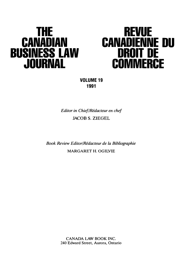 handle is hein.journals/canadbus19 and id is 1 raw text is: THE