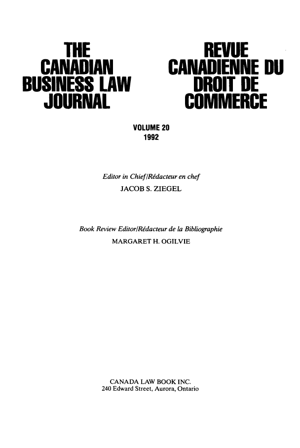 handle is hein.journals/canadbus20 and id is 1 raw text is: THE