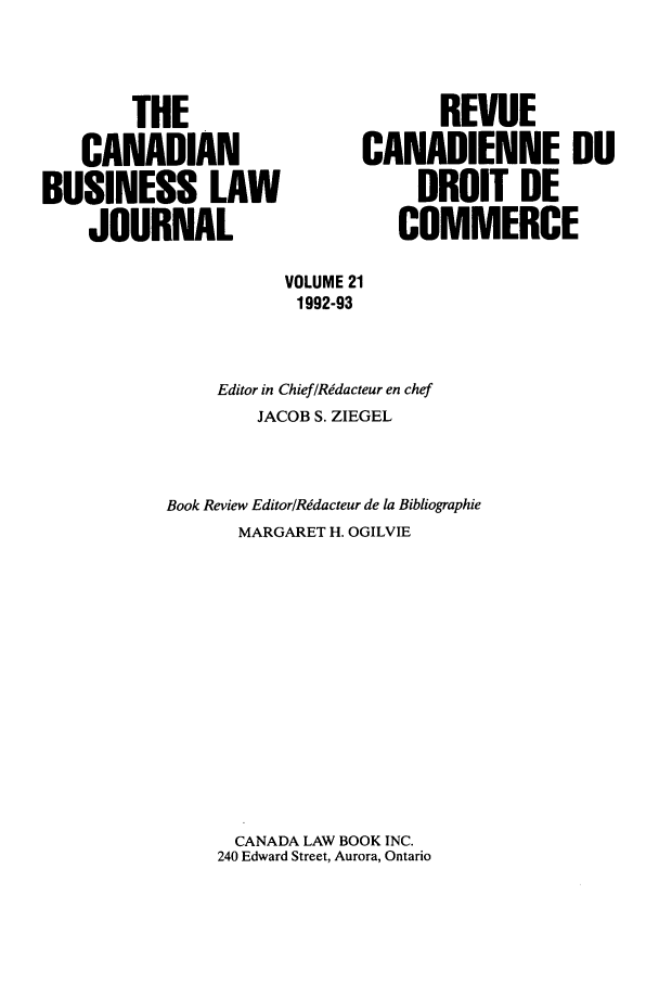 handle is hein.journals/canadbus21 and id is 1 raw text is: THE