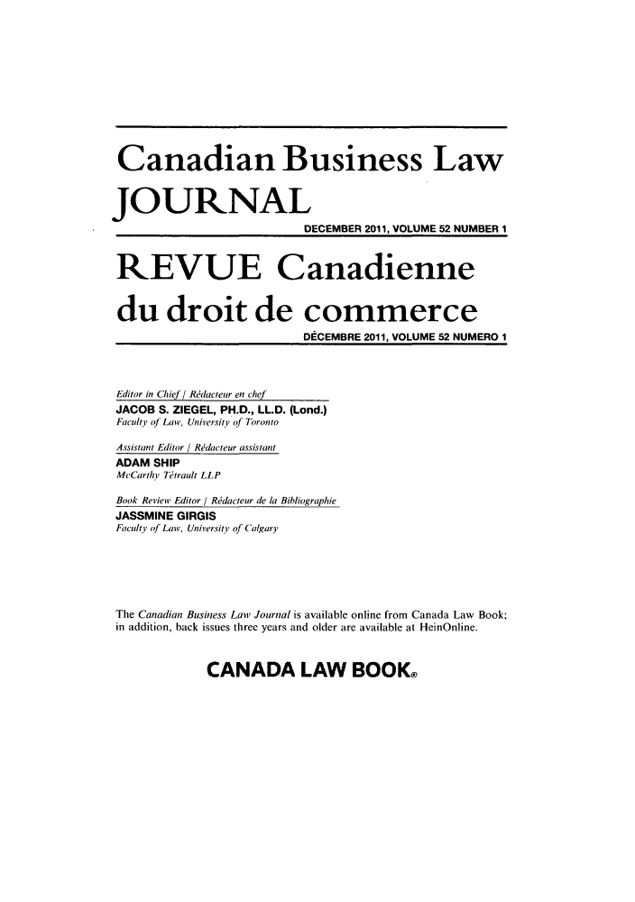 handle is hein.journals/canadbus5252 and id is 1 raw text is: Canadian Business Law