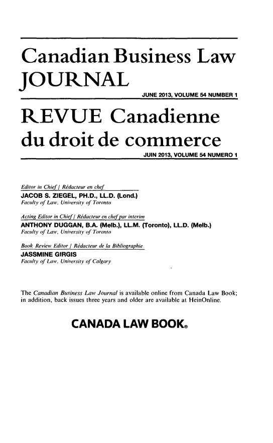 handle is hein.journals/canadbus54 and id is 1 raw text is: Canadian Business Law