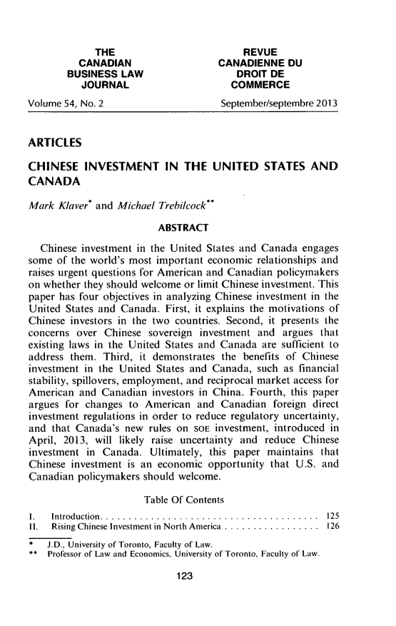 Chinese Investment in the United States and Canada 54