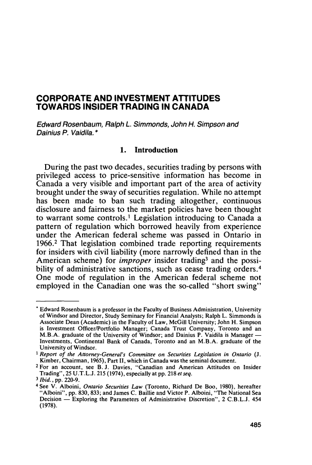 handle is hein.journals/canadbus8 and id is 507 raw text is: CORPORATE AND INVESTMENT ATTITUDES