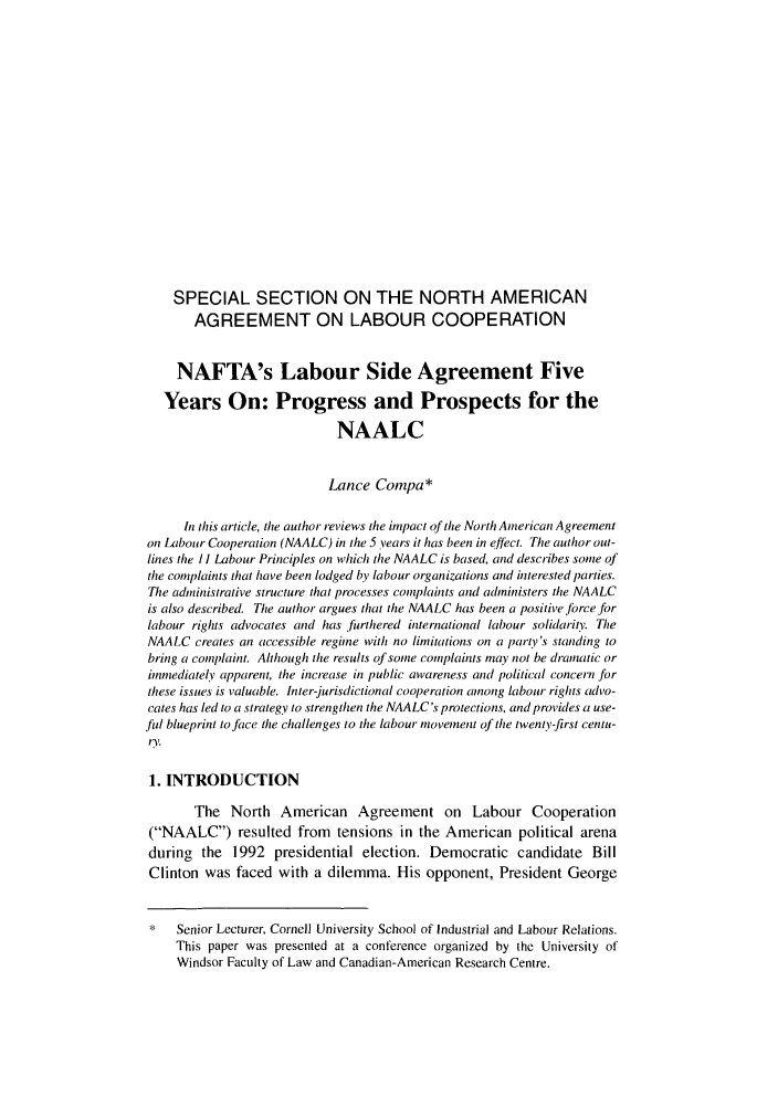 Naftas Labour Side Agreement Five Years On Progress And Prospects