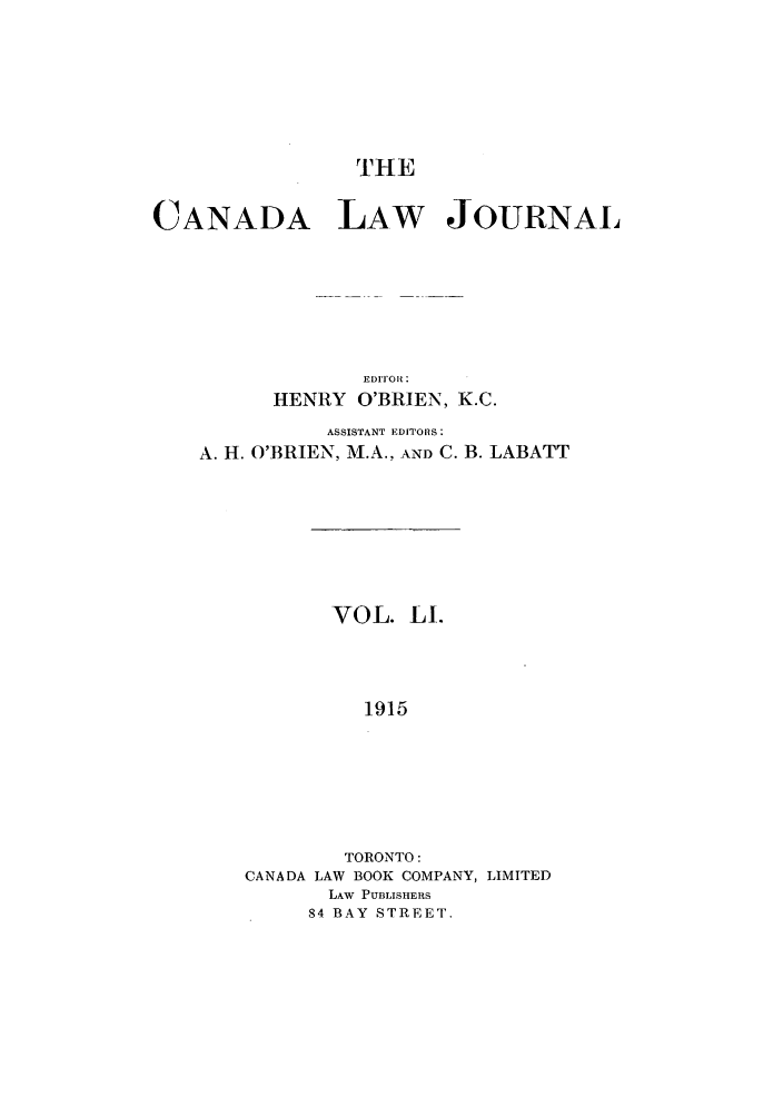 handle is hein.journals/canljtns51 and id is 1 raw text is: CANADA LAW JOURNAL