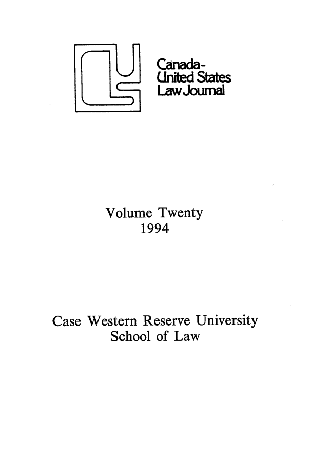 handle is hein.journals/canusa20 and id is 1 raw text is: CAnada-