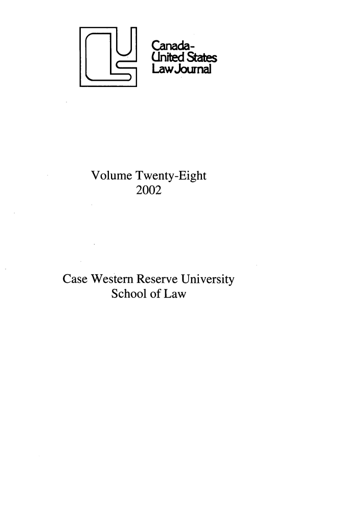 handle is hein.journals/canusa28 and id is 1 raw text is: U     Canada-
