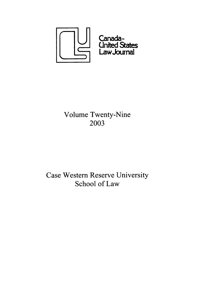 handle is hein.journals/canusa29 and id is 1 raw text is: LU       Canada-