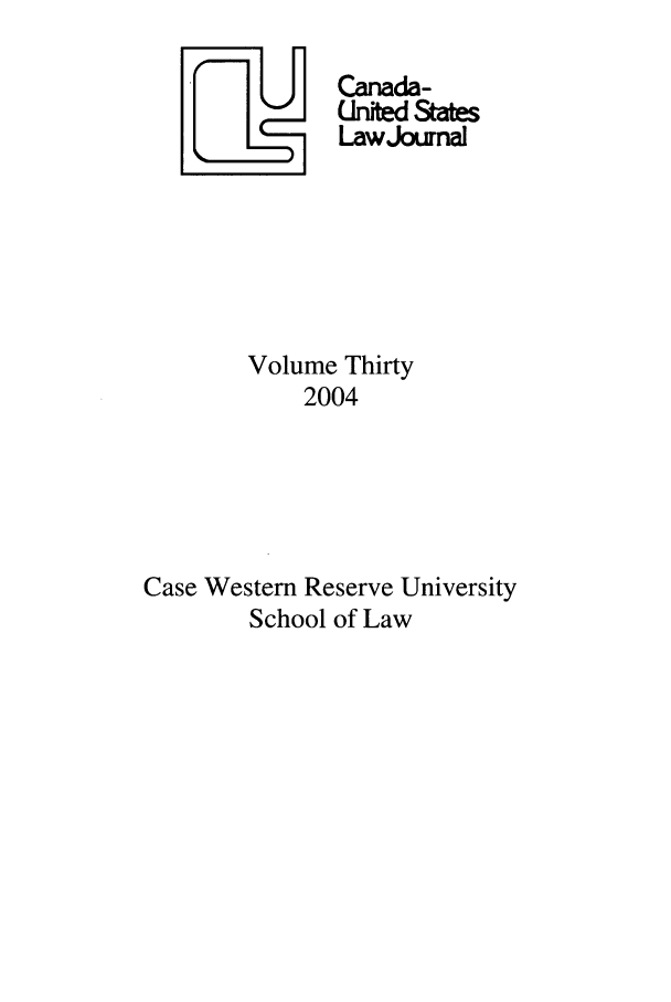 handle is hein.journals/canusa30 and id is 1 raw text is: Yj Canada-