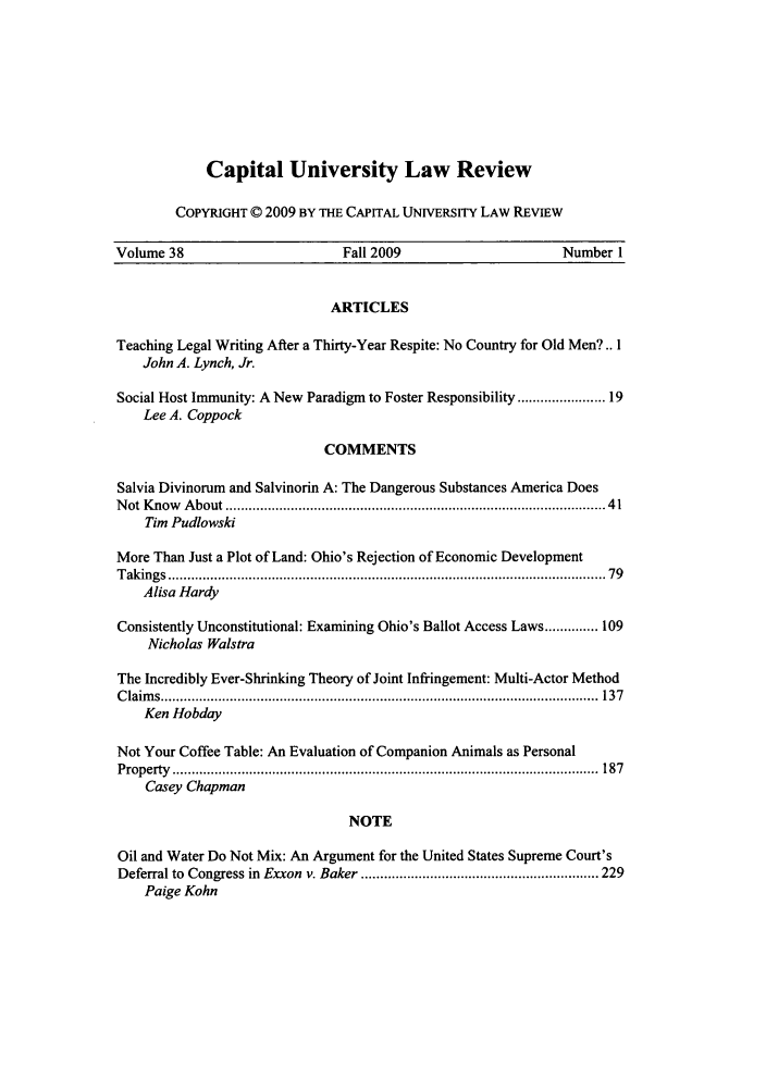 handle is hein.journals/capulr38 and id is 1 raw text is: Capital University Law Review