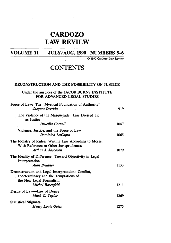handle is hein.journals/cdozo11 and id is 11 raw text is: CARDOZO