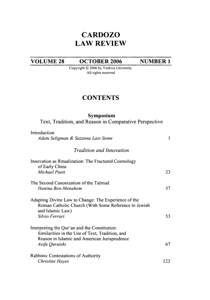 handle is hein.journals/cdozo28 and id is 1 raw text is: CARDOZO