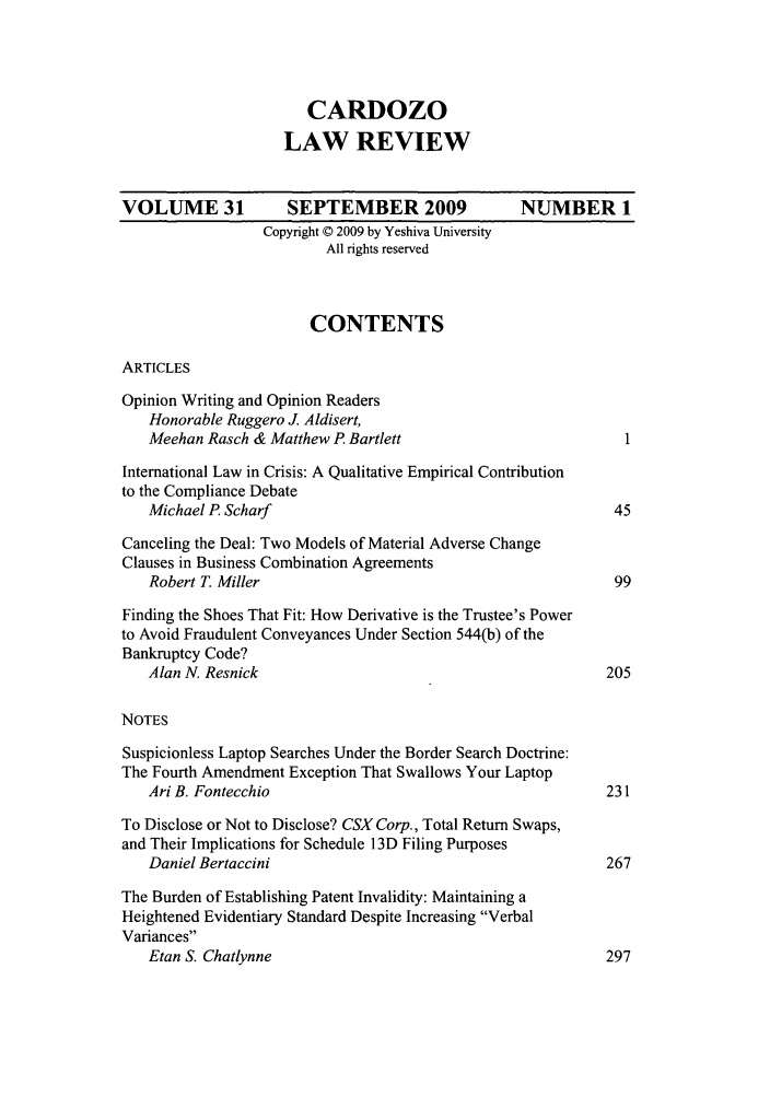 handle is hein.journals/cdozo31 and id is 1 raw text is: CARDOZO