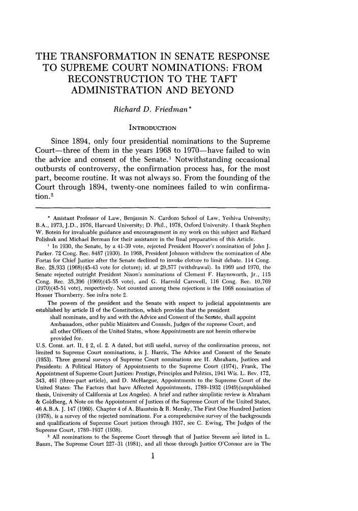Appointment and confirmation to the Supreme Court of the United States