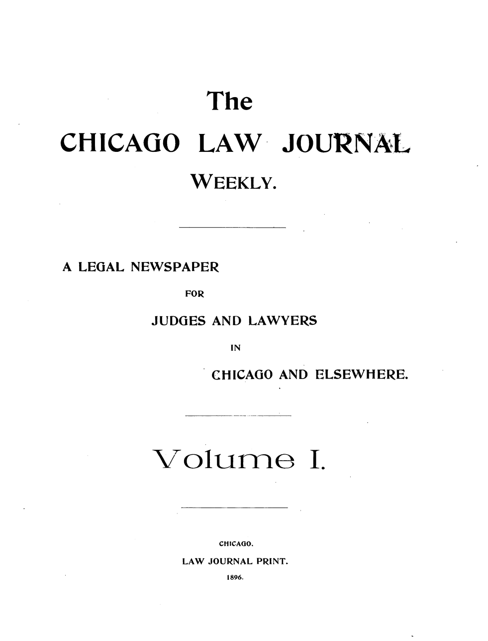 handle is hein.journals/chcgolwjrnl1 and id is 1 raw text is: The
