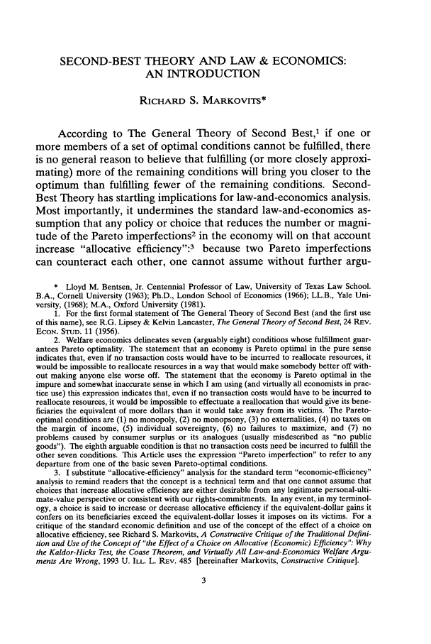 handle is hein.journals/chknt73 and id is 21 raw text is: SECOND-BEST THEORY AND LAW & ECONOMICS: