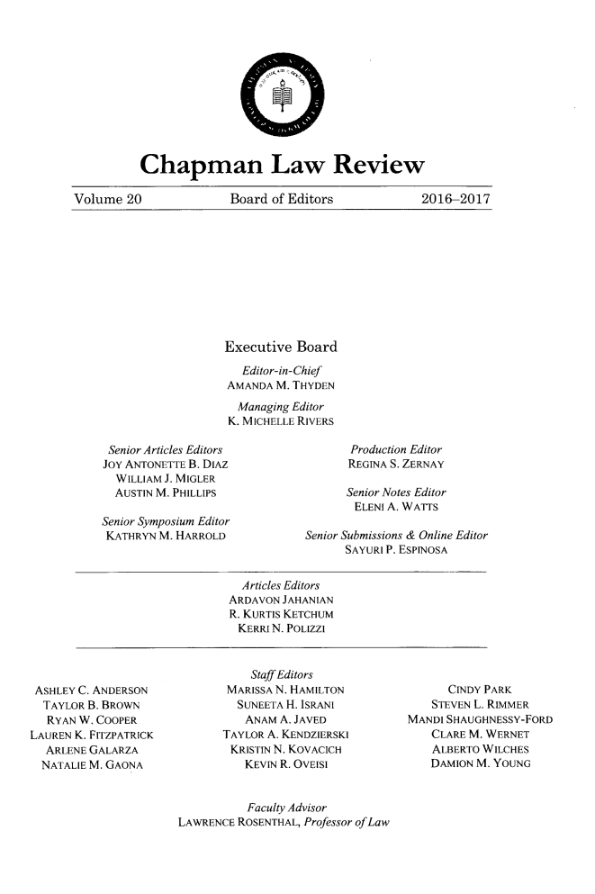 handle is hein.journals/chlr20 and id is 1 raw text is: 