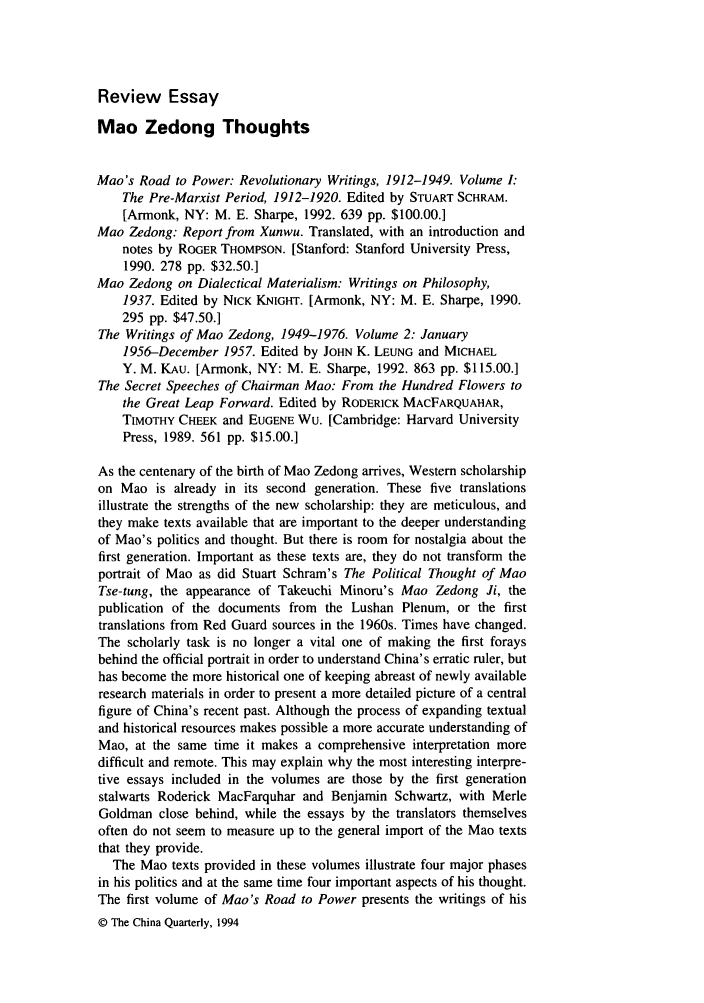 Mao Zedong Thoughts Mao At  Review Essay  China Quarterly  Mao Zedong Thoughts Handle Is Heinjournalschnaquar And Id Is  Raw  Text Is Review Buy Essay Paper also English Essay Question Examples  Thesis In An Essay